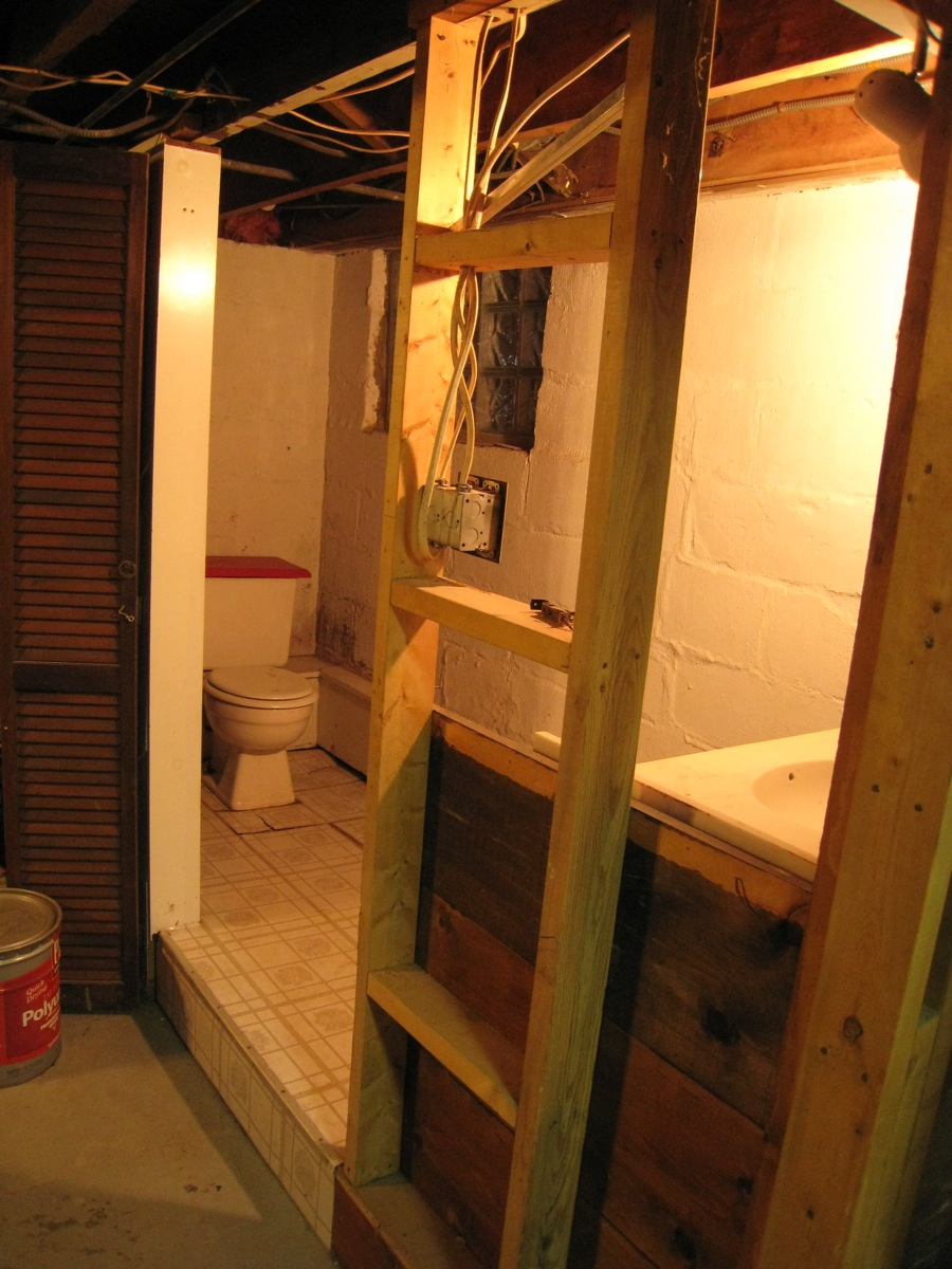 Luxury Small Basement Washroom Remodel Rustic DIY 2x4 Stained Wood