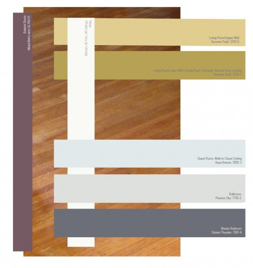 The color palette of the house. Exterior doors are purple. Downstairs are white, and the gold shades; Upstairs are whites, blues, and grays.