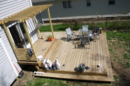 And the deck, also messy. Can you believe that I also have 5 bags of charcoal in the basement? Permission to grill more this year.