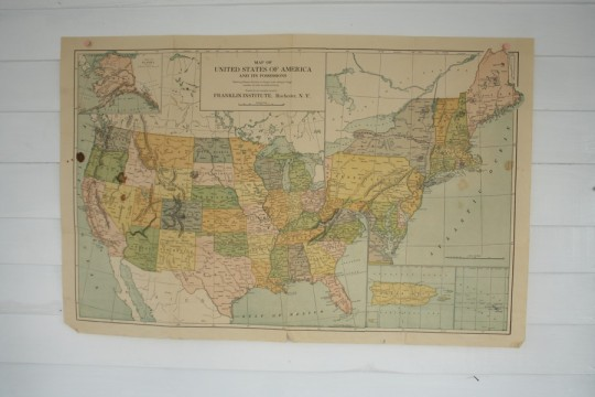 USA Map. Brittle and worn.