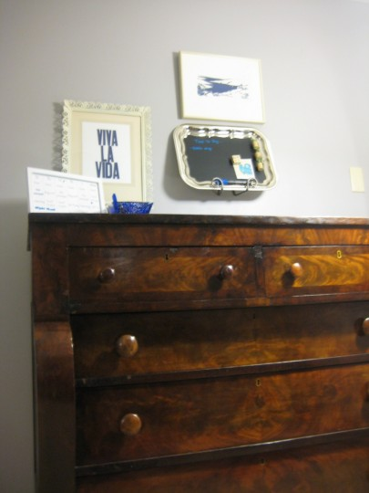Antique hutch for small projects + storage.