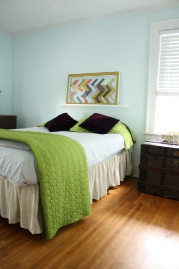 Guest room (view from the doorway) after. Slightly longer quilt and a bedskirt.