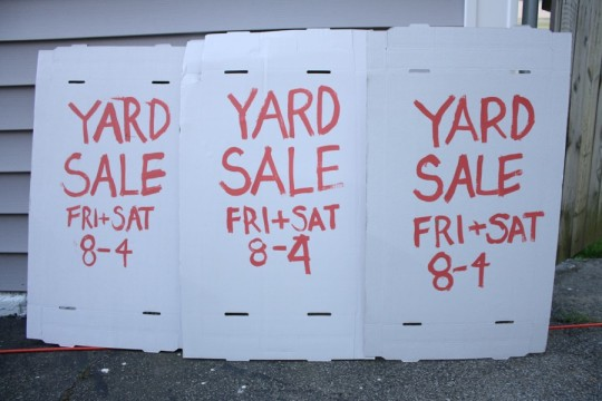 DIY garage sale signs. Arrows to direct traffic were done at the site they were hung.