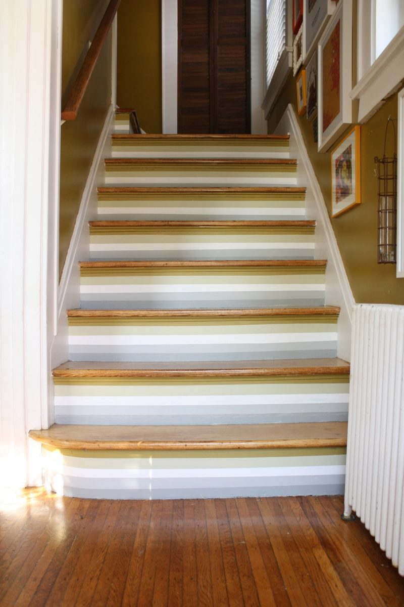 How to paint stripes on stairs merrypad - Staircase small space paint ...