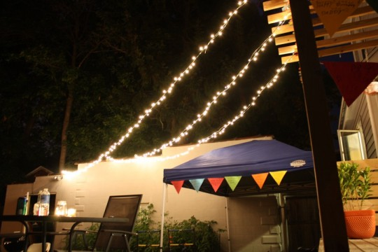 Exterior lighting at Pete's surprise party.
