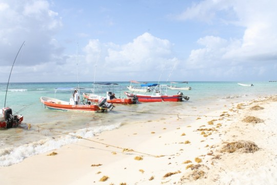 Playa del Carmen beach boats.