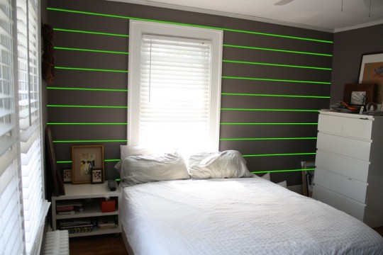 Zoom, zip, zoom. Laser beams help to demonstrate where we're going with this headboard overhaul.