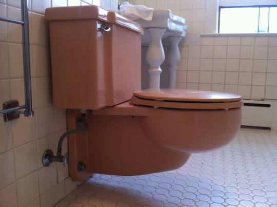 Mauve wall-mounted toilet. I have lots of questions surrounding this.