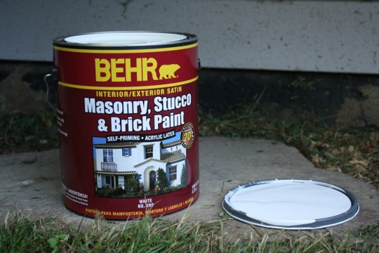 Masonry, Stucco, and Brick Paint from Behr. Tinted Silver Leaf.