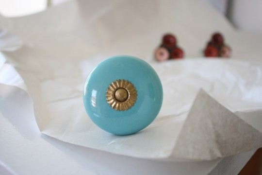 New, blue, pretty drawer pull. Thank you Anthropologie.