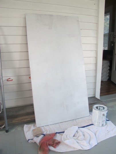 Steps 1 and 2: Sanded, and primed the desktop.