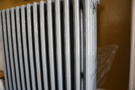 Plastic wrapping the radiator.