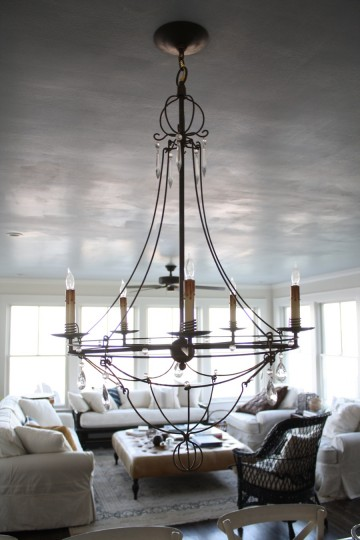 After: Dining table chandelier.