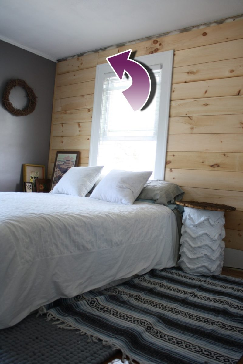 White Shiplap Bedroom Accent Wall