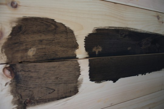 Stain sampling. WAIT, that's not covering up the wood patching.