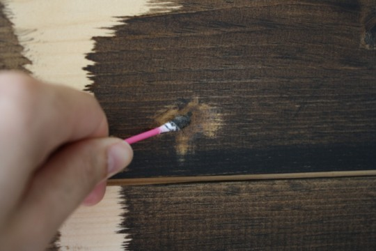 Concentrating my staining efforts directly on the wood filler problem areas.