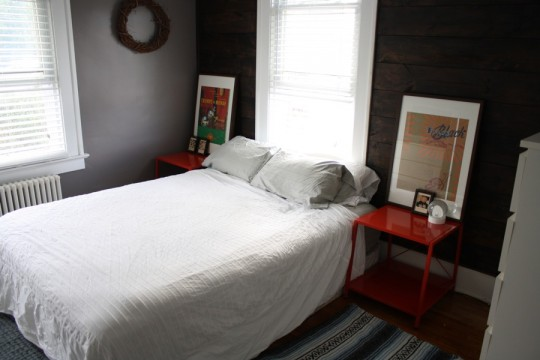 Shiplap wall, lobster tables, and the unfilled duvet cover. Wrinkly. Don't mind that.