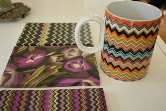 Missoni coffee cup. With the notebook trio in the background.
