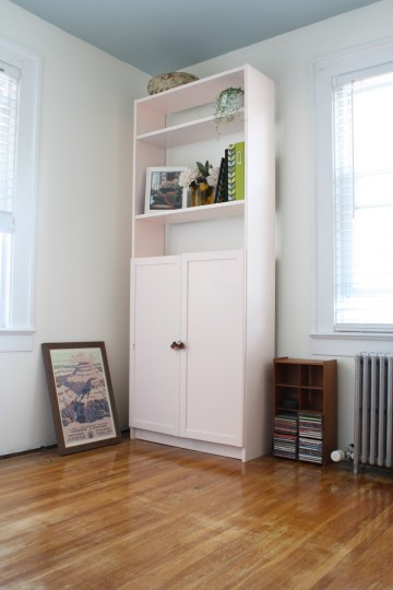 A like-new shelving unit. In a very far-from being complete office space.