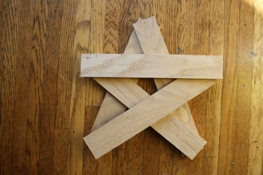 "Star-boards. Five floorboards cut to 12"" in length."