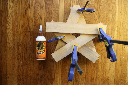 Clamping the star together. Gorilla Wood Glue did the job.