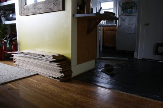 Flooring removed, stacked.