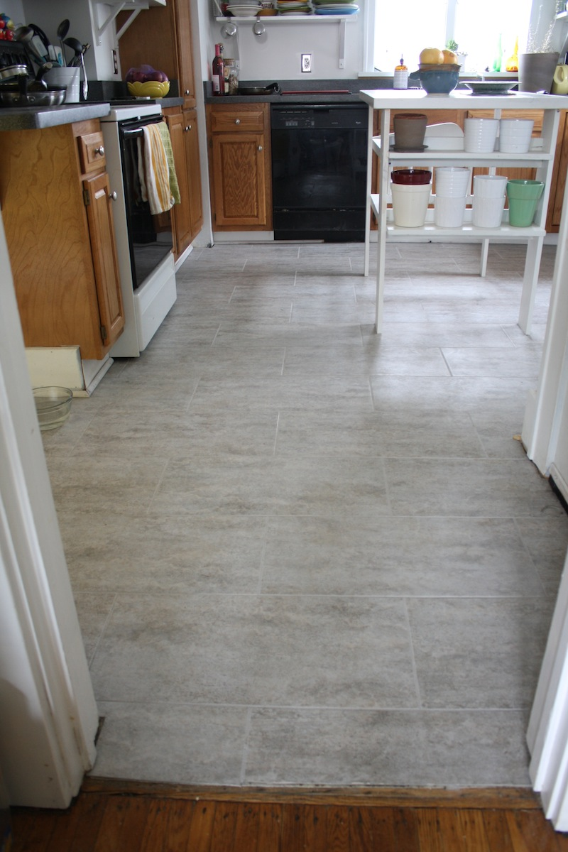 Tips for installing a kitchen vinyl tile floor merrypad for Grey kitchen floor tiles ideas