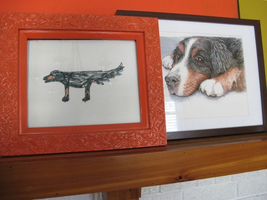 Dog illustration happiness; left, by Julia. Right, by Erin Busch.