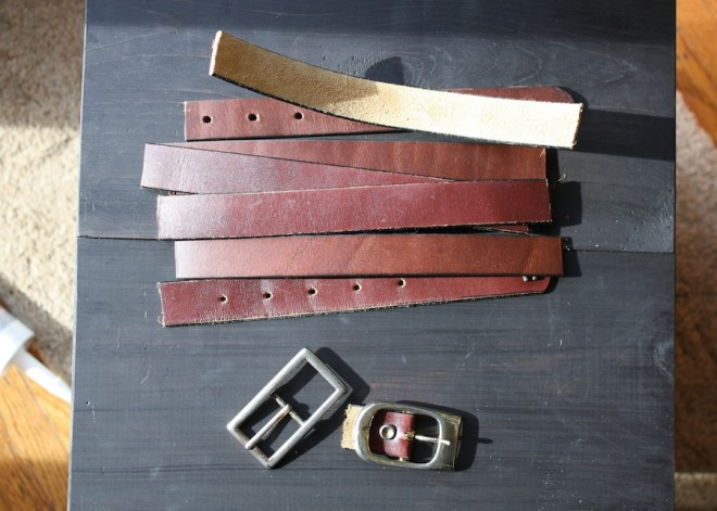 Leather belts about to be upcycled into leather drawer pulls!