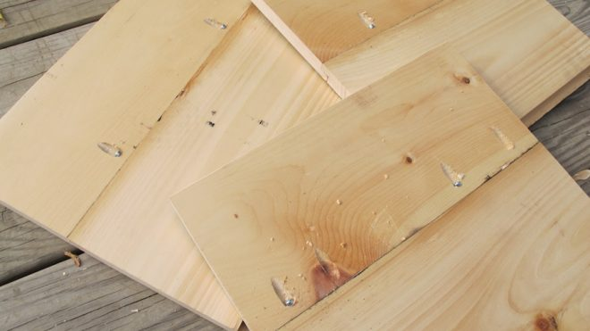 "Boards attached to make 13"" panels. Each side of each box was built to be 13"" high to slide comfortably into the IKEA EXPEDIT boxes."
