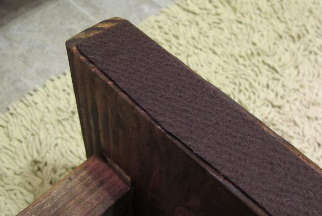 Each foot of the stool was lined with felt to cushion against the floor.