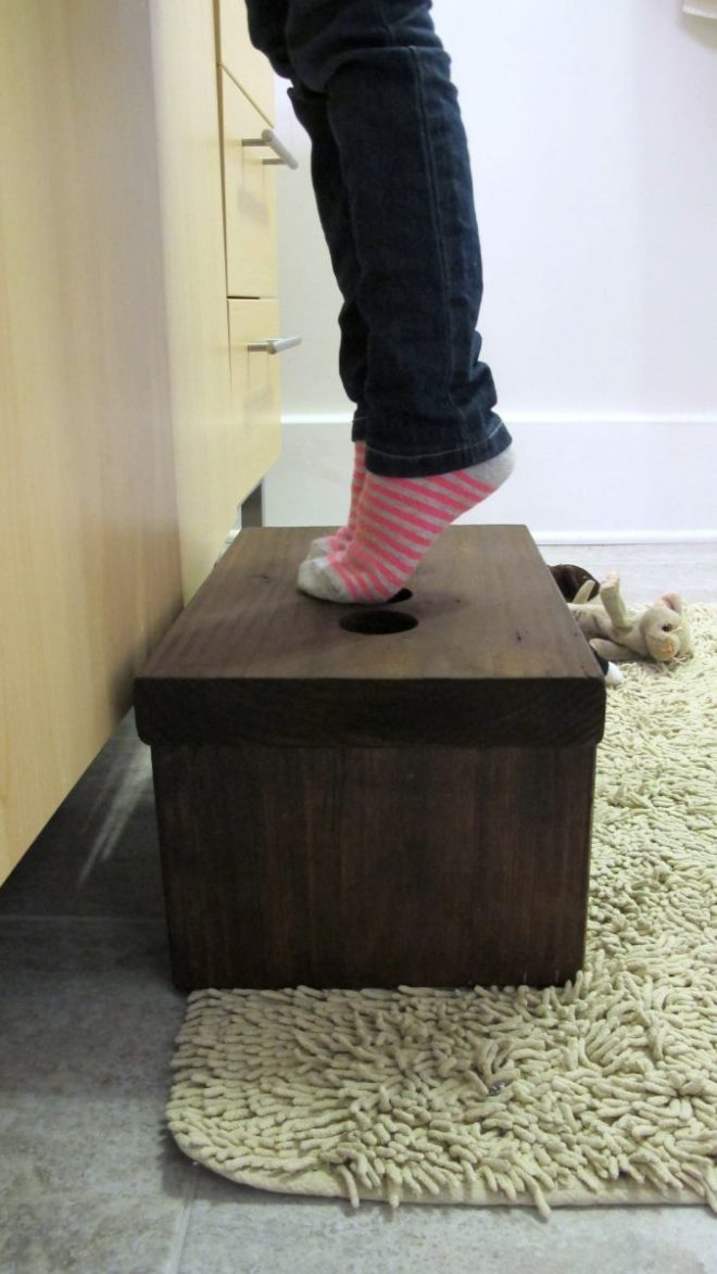 Love our functional DIY footstool.