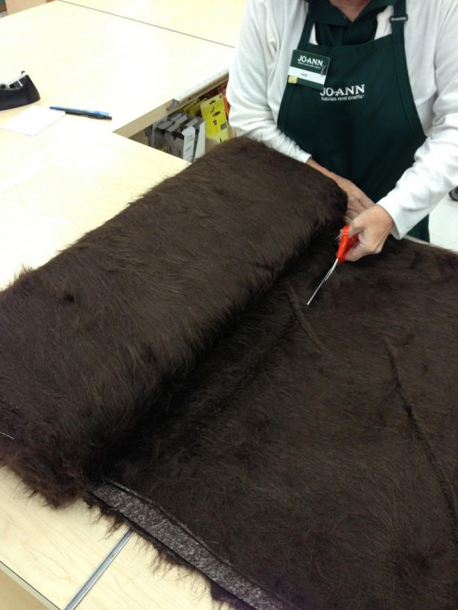 Trimming the fur to length in JoAnn's.