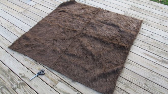 1-2/3 yards of furry, furry fabric.