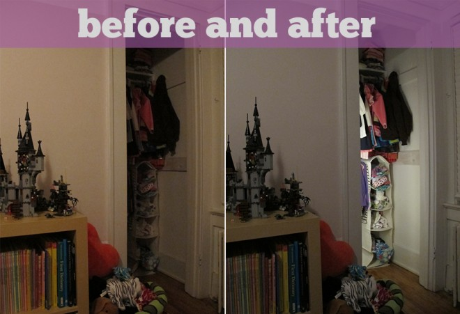Closet light before and after.