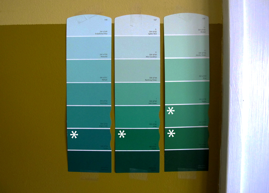 Sherwin-Williams Paint Samples for the living room. Lots of blues and ...