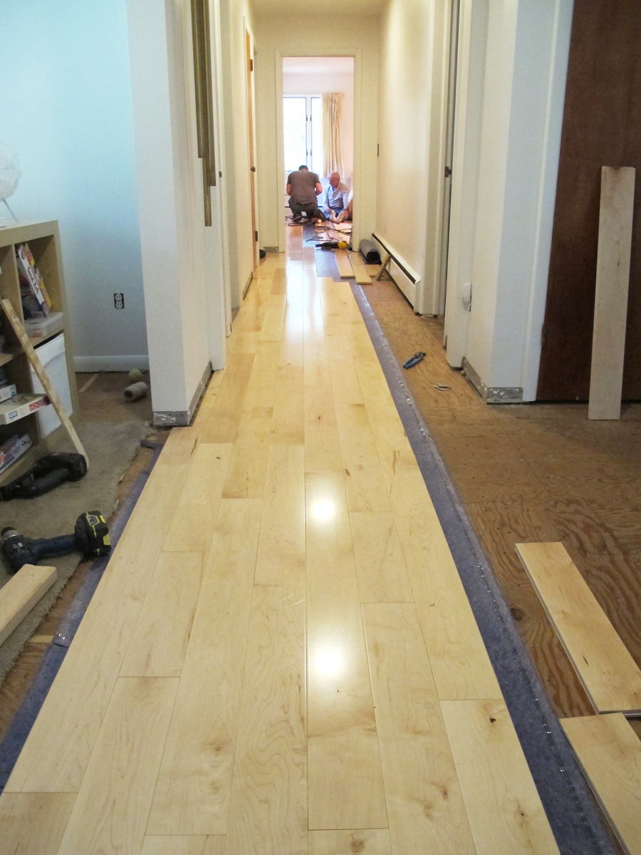 Installing the maple floors in