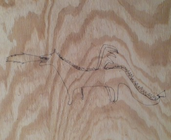 Drawing on the underlayment beneath the new hardwood floors.
