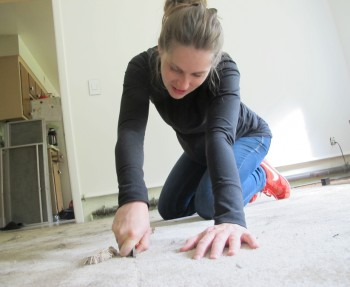 Removing carpeting from the dining room.