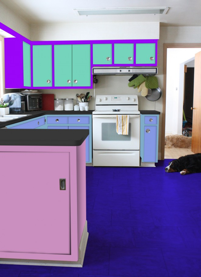 Rainbow kitchen, courtesy of Photoshop and our 7-year old.