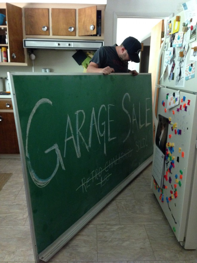 We found a vintage chalkboard at a garage sale!