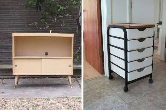 Midcentury shelving solutions for our home.