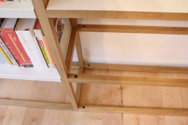 Hidden joinery in the Lap Shelving System.