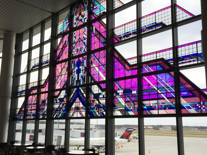 Stained glass window at the Rochester Airport.