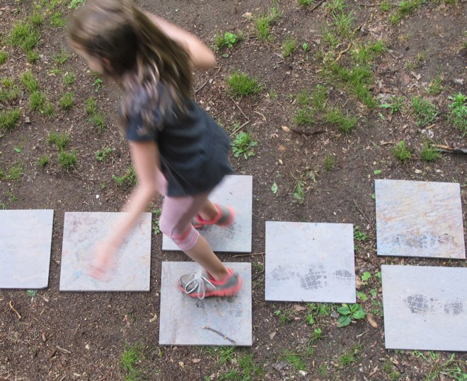 Slate tiles used for a hopscotch board.