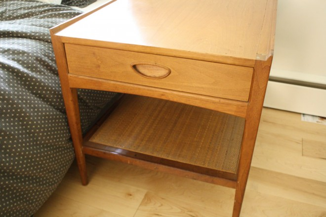Midcentury heritage bedside tables found at a garage sale.