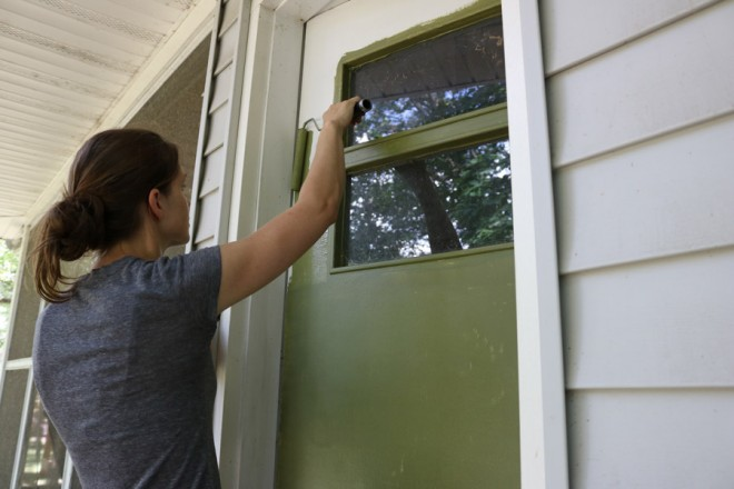 Paint the flat surfaces of the door.