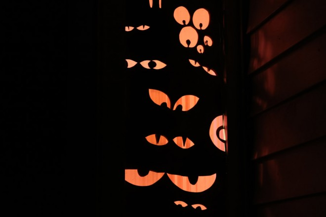 Decorate your windows for Halloween with little peeping monster eyes.