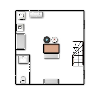 A floor plan of the basement.