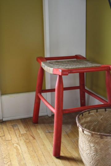 One of the two stools I found at a garage sale last summer.
